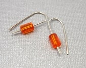 Simple Eco-Friendly Sterling Silver Earrings with Orange Vintage Crystal Beads  - Margaux
