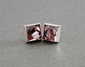 Geometric Asymmetrical Faceted Cube Crystal Stud Earrings, Light Amethyst Purple, Sterling Silver and Swarovski Crystal