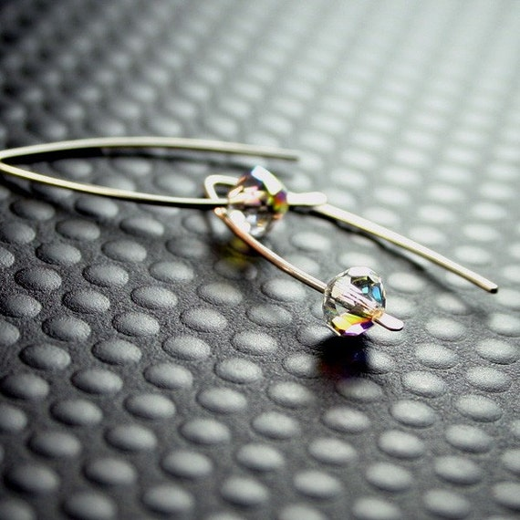 Nixie Modern Silver Earrings with solo Aurora Borealis Crystals on Arced Hooks - Small