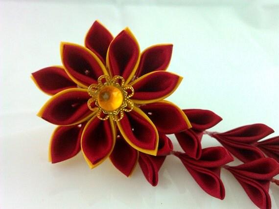 Red & Gold Japanese Hana Tsumami Kanzashi Hair Stick / Fork with Shidare Falls and Bells