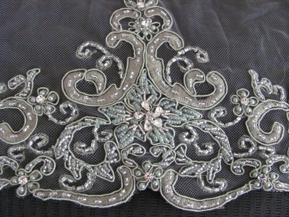 OMG Gorgeous Beaded Rhinestone Embellished Net Style Scarf - 17 x 74 Best of the Best