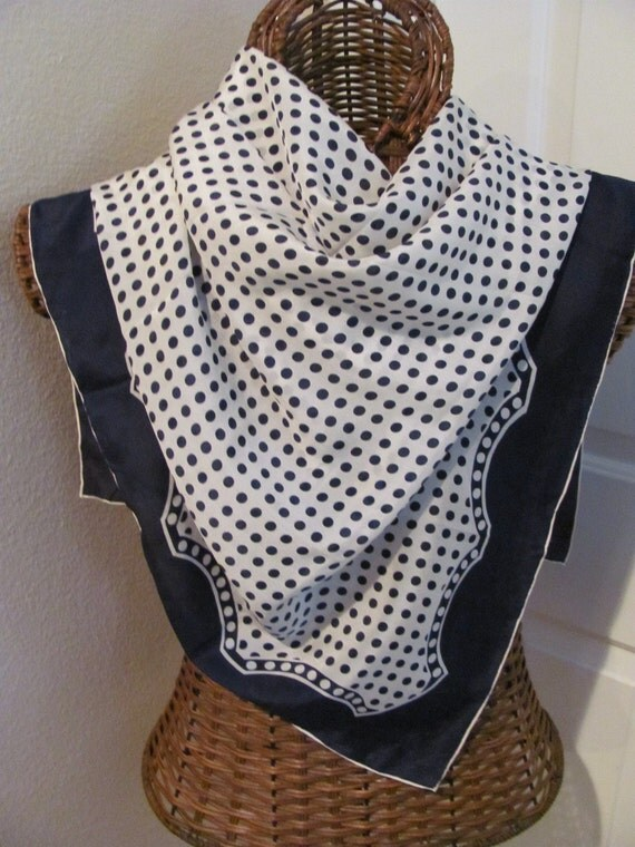 Beautiful Blue Polka Dot Designer Signed Silk Baar and Beards Scarf - 33 x 33 Square - - - Best of the Best