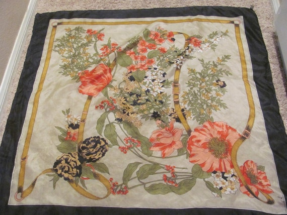 Beautiful Large Floral Silk Scarf - 34 x 34 Square