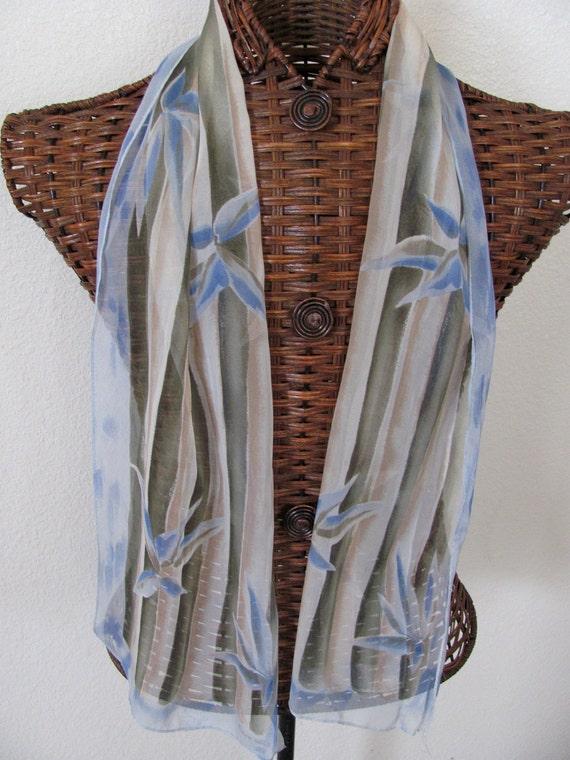 Beautiful Blue Green Sheer Elaine Gold Silk Scarf - 11 x 54 Long