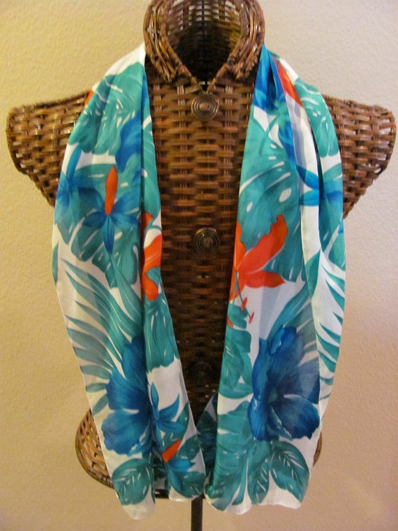 Lovely Ladies White Tropical Poly Scarf  - 11 x 52 Long