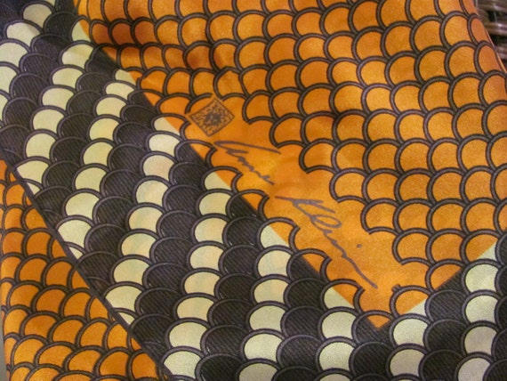 Lovely Rust Brown Designer Signed Anne Klein Silk Scarf - 27 x 27 Square - Best of the Best