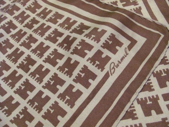 Small Brown BURMEL Silk Hand Rolled Scarf Pocket Hankie 18 x 18