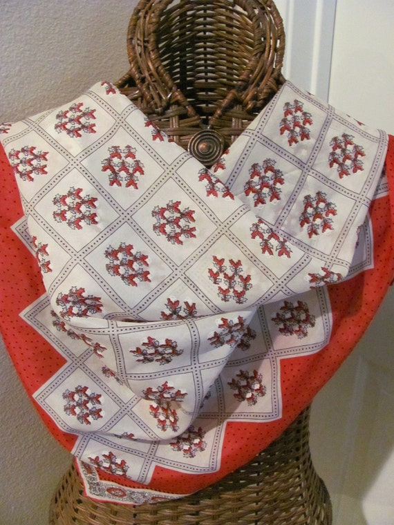 Lovely Red White Vintage Silk Scarf - 32 x 32 Square