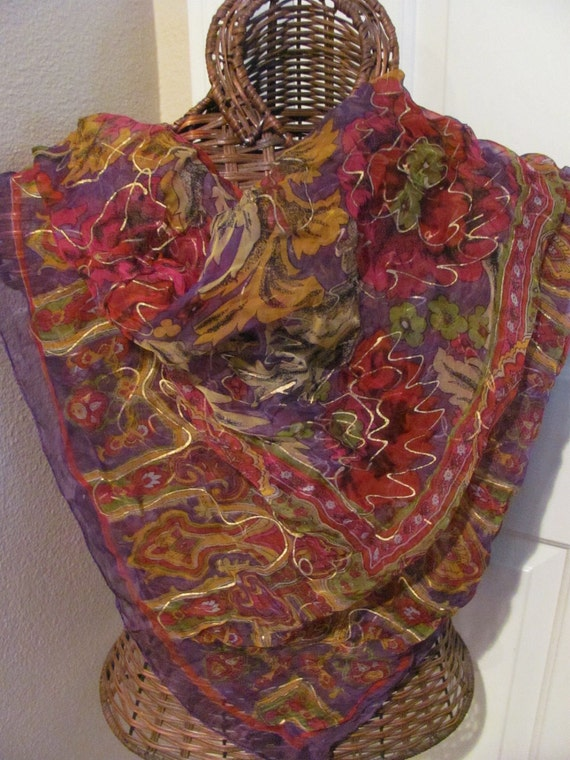 OMG My Fav - Beautiful Large Sheer Purple Gold Painted Scarf - 38 x 38 Square