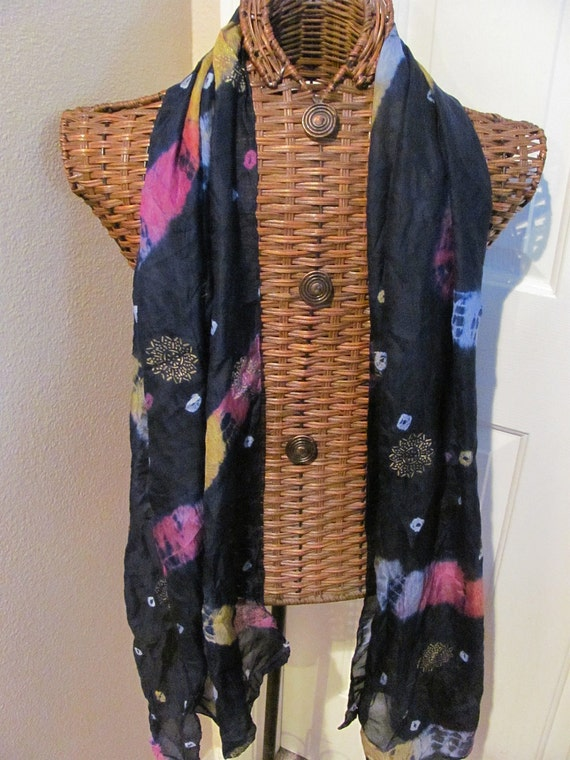 Beautiful Dark Blue Silk Sheer Gold Painted Scarf  - 27 x 72 Long