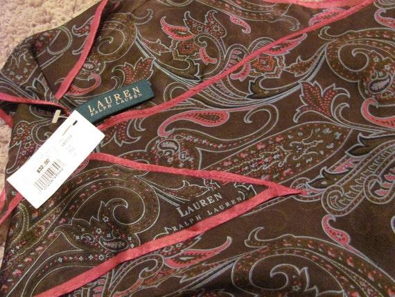 Beautiful Black Paisley Ralph Lauren Diamond Shape Silk Scarf  NWT - 13 x 40 Long - Best of the Best
