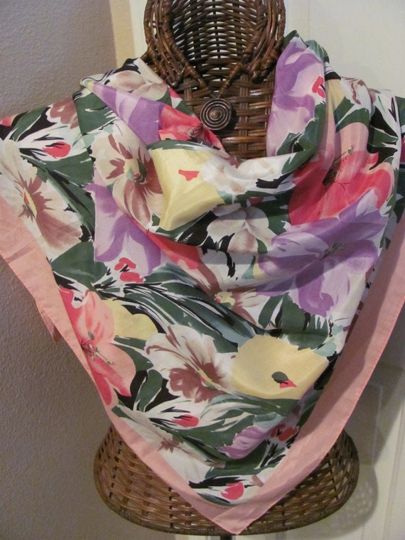OMG My Fav - Lovely ECHO Colorful Floral Scarf - 35 x 35 Square - Best of the Best