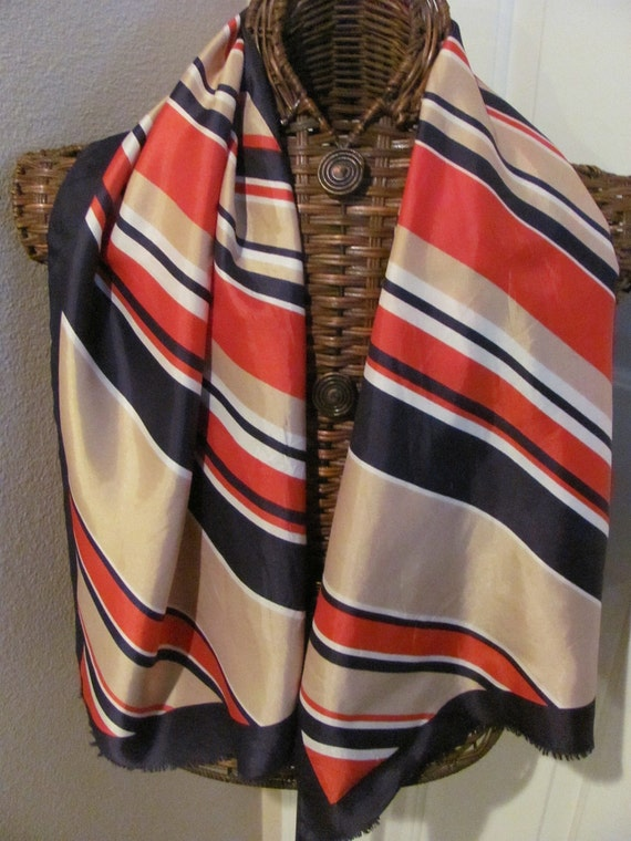 Beautiful Blue Red Striped Jacques Piaget Acetate Scarf  - 17 x 52 Long