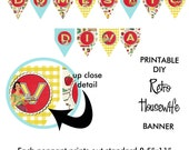 Printable DIY Retry Housewife Theme Bridal Shower Banner - Domestic Diva