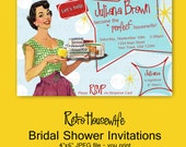 Printable DIY Retro Housewife Theme Bridal Shower Party Invitations, RSVP card and Recipe Bundle