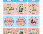 Printable DIY Personalized Mermaid Under The Sea Theme Cupcake Toppers