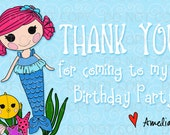 Printable DIY Personalized Button Doll Mermaid Under the Sea Birthday Theme Thank You Card