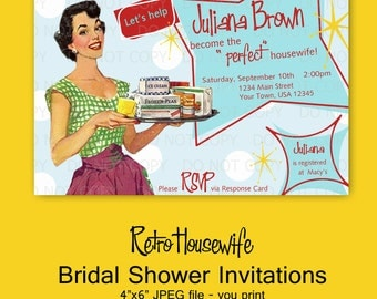 Printable DIY Retro Housewife Theme Bridal Shower Party Invitations