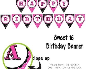 Printable DIY Sweet 16 Theme Birthday Banner