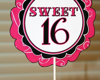 "Printable DIY Sweet 16 Theme Birthday Party 6"" and 8""  Centerpieces"