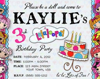 Printable DIY multiple Button Doll Theme Birthday Party Invitations