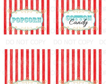 Printable DIY Vintage Circus Table Tent Food Labels- 4 designs customized