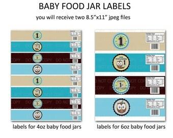 Printable DIY Owl First Birthday Theme Baby Food Jar Labels - 4 oz and 6 oz