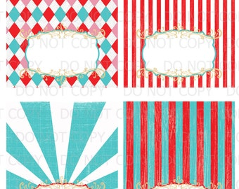 Printable DIY Vintage circus carnival 4th of July Tent Food Labels- 4 designs blank