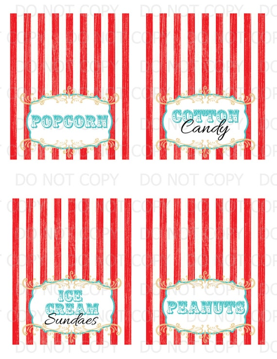 Printable DIY Vintage Circus Table Tent Food Labels- set of 8 customized labels