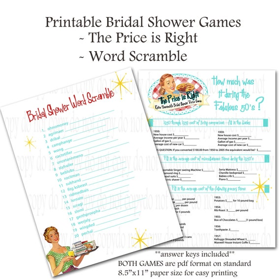 Printable Retro Housewife themed Bridal Shower Games - Word Scramble and Price Is Right