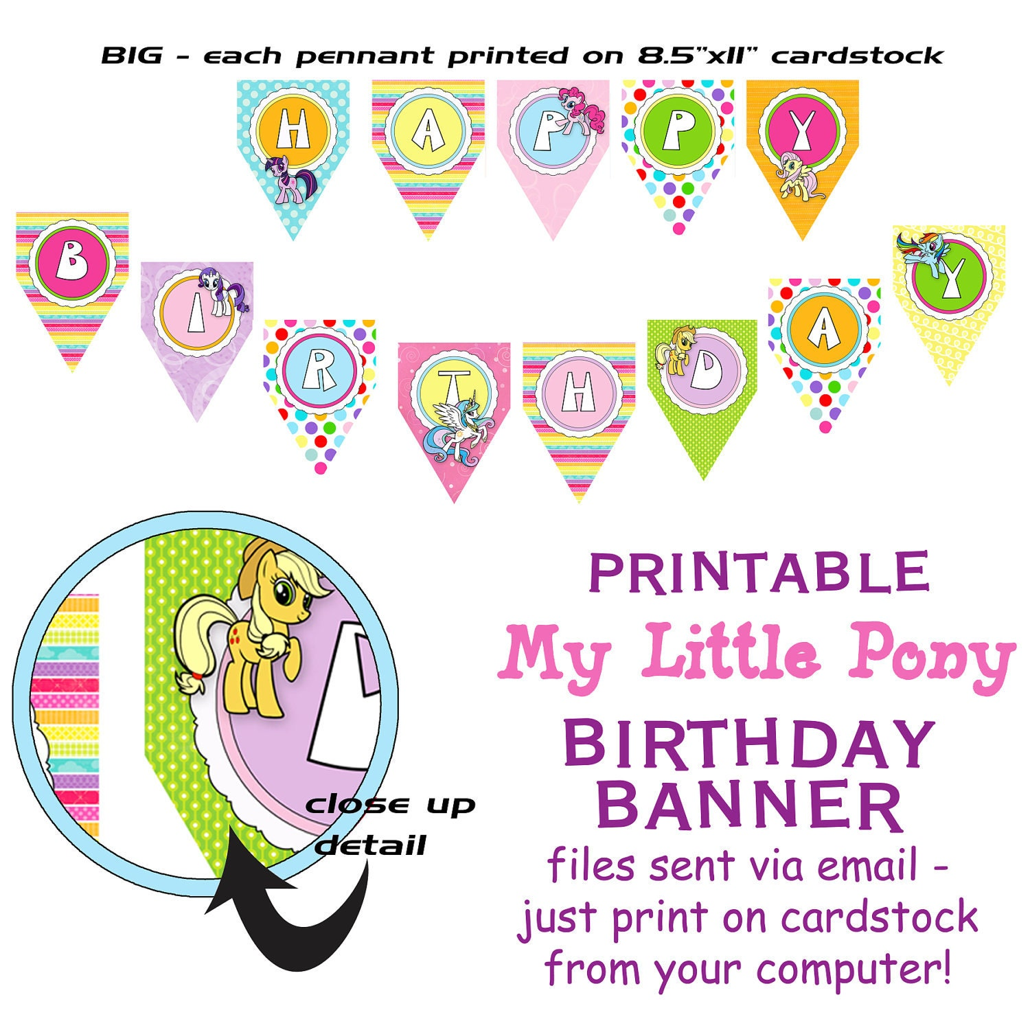 Printable DIY Pony Friends Inspired Theme Birthday Banner