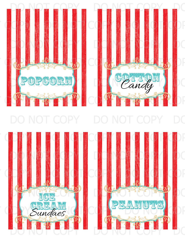 Printable DIY Vintage Circus Table Tent Food Labels 4 designs