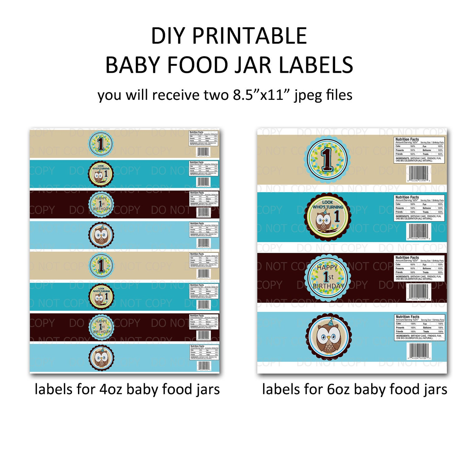 Printable diy owl first birthday theme baby food jar labels for Baby food jar label template
