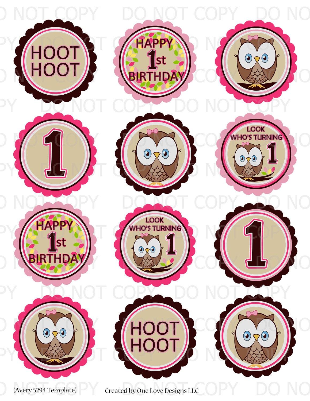 Printable DIY Owl First Birthday Theme 2.5 Labels Avery