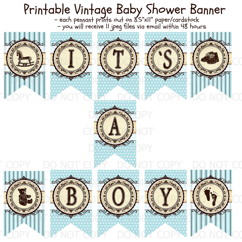Printable DIY Vintage Baby Shower Banner It 39 S A Boy