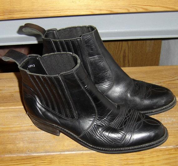 Vintage GRINGOS Cowboy Style Black Leather Ankle Boots UK 9 US 9.5 Euro 43.5