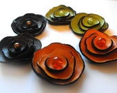 Flowers. 6pcs. Orange, green, brown colors leather flowers.