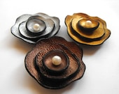 3 applique embellish leather cabochon supplies flowers. Metallic gold, silver and cooper colors