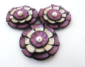 3pcs applique/embellishment flowers champaign and purple metallic color made from leather
