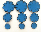 Flowers die cut shapes. Set of 9 leather flowers patals