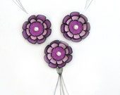 Jewelry supplies leather flowers. 3 pcs applique/embellish leather layered cabochon  flowers for crafts