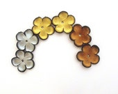 Leather flowers jewelry supplies cabochons Metalic colors Set of 6 pcs