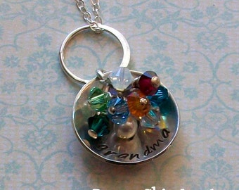 Grandma Necklace, Custom Hand Stamped, Domed Sterling Silver Grandmas Cluster Necklace