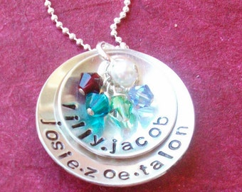 Hand Stamped Necklace Mothers Jewelry, Personalized Mommy Jewelry, Birthstone Charms, Sterling Silver Necklace, Birthstone Jewelry