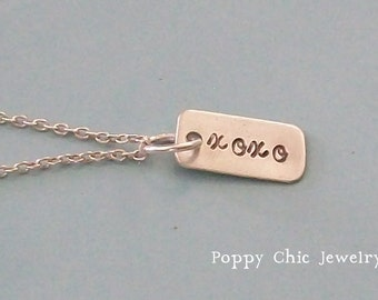 XOXO Necklace, Personalized Hand Stamped Hugs and Kisses Necklace, Sterling Silver XOXO Necklace
