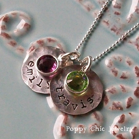Hammered Mommy Charm Necklace, Sterling Silver Mother's 2 Disc Names Necklace, Birthstone Charms