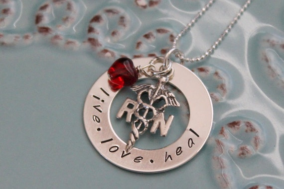 Personalized Nurse Necklace-RN Jewelry-Nurse Jewelry-Personalized Hand Stamped-Sterling Silver Nurses Necklace