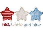 Simple and  Chic Red White and Blue Star Applique on Onesie or T-Shirt