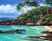 Secret Beach, Maui, Hawaii original oil painting by artist Kathy McCartney