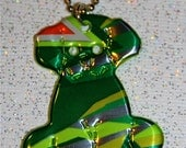 Recycled Soda Can Art- --SMALL Puppy Dog Charm Necklace
